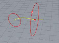 Vẽ đường tròn vuông góc với đường cong