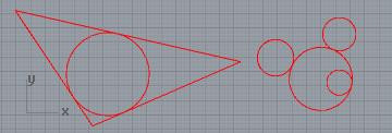 Vẽ đường tròn tiếp xúc (tiếp tuyến ) với 3 đối tượng