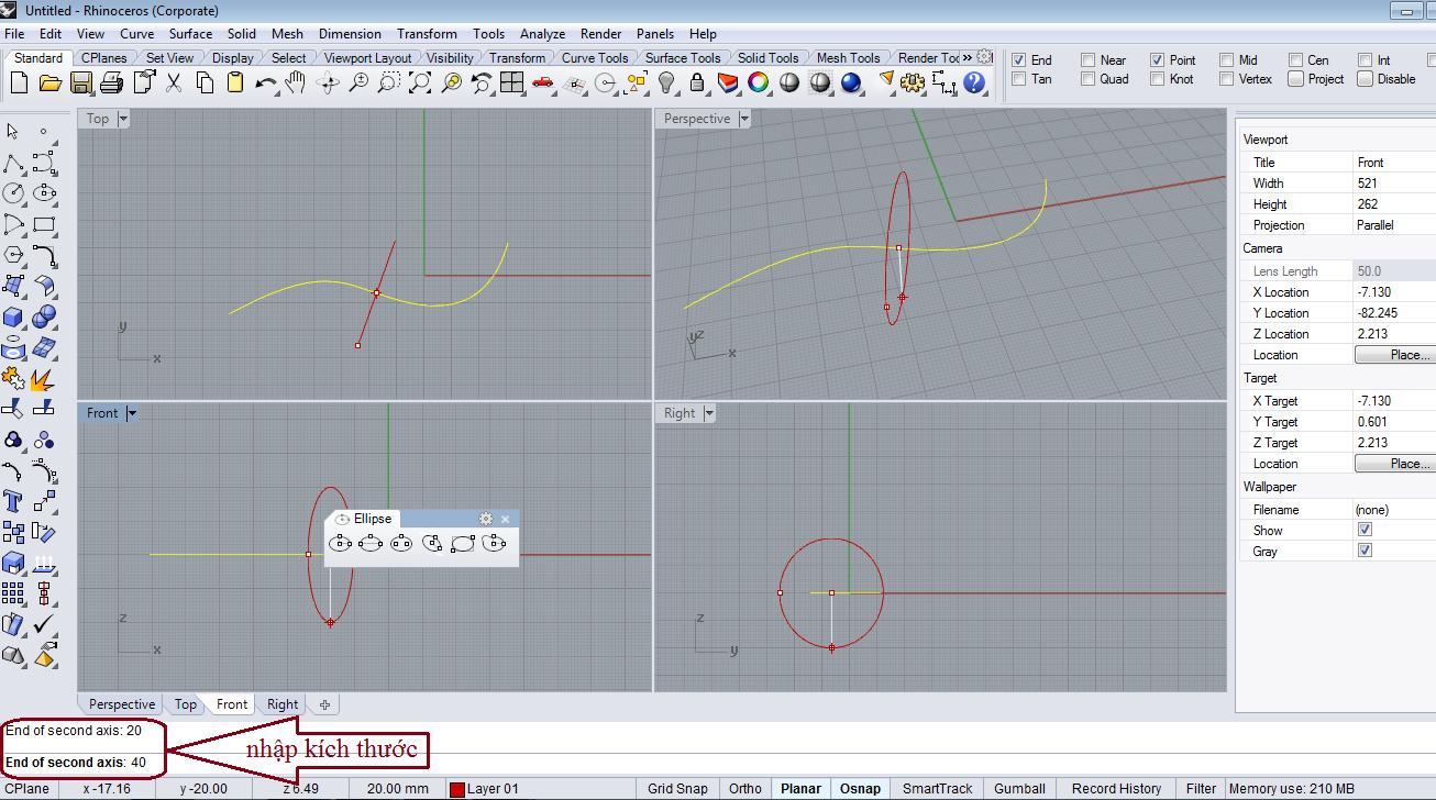 Thao tác vẽ ellip vuông góc với đường cong cho trước
