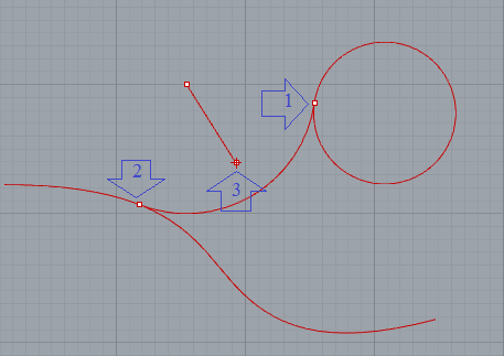 Thao tác vẽ cung tròn tiếp tuyến với đường cong