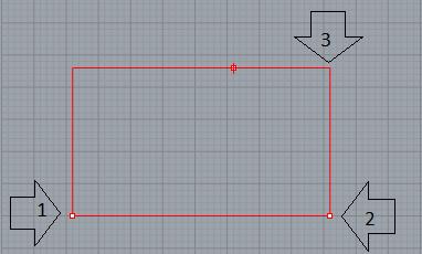 Thao tác vẽ hình chữ nhật qua 3 điểm