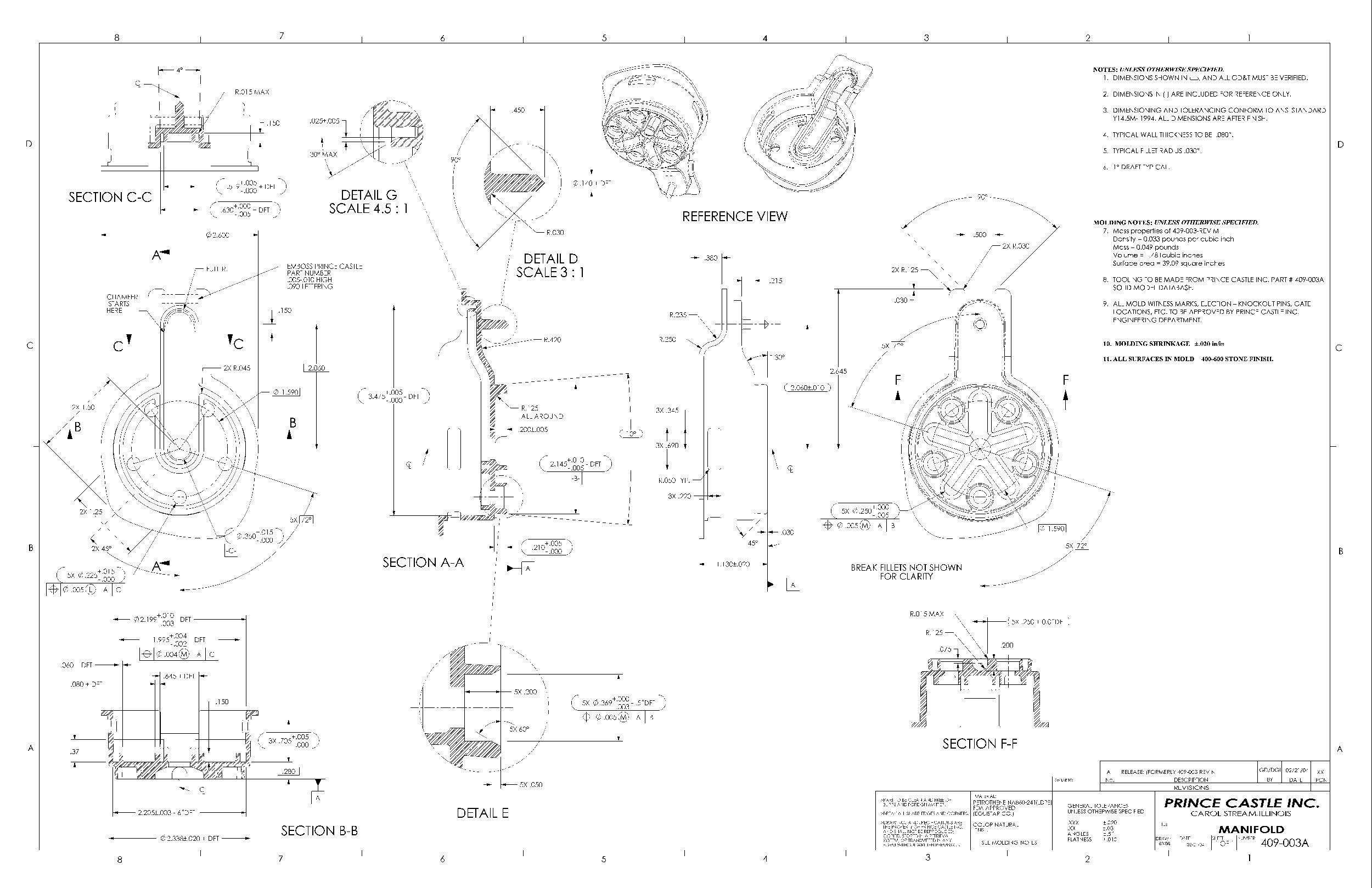 inj-mold-drawing-prince castle-condiment dispenser manifold