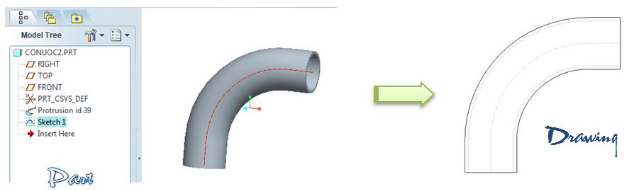 Thể hiện đường tâm ống khi xuất bản vẽ trong môi trường Part
