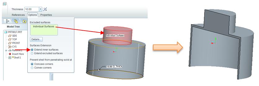 Tùy chọn tạo vỏ Shell bằng Extend Inner Surface