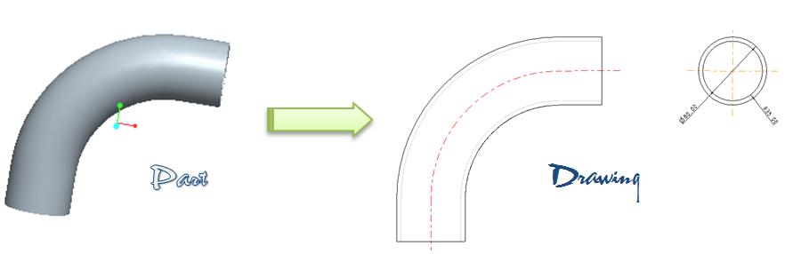 Thể hiện đường tâm ống khi xuất bản vẽ trong môi trường Drawing