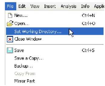 Set Working Directory theo Menu File
