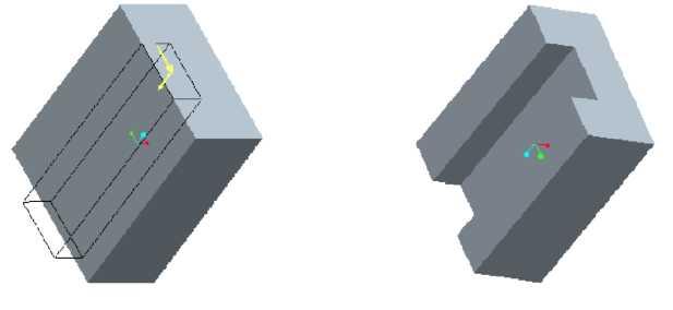 Biên dạng phác thảo và kết quả Cut Extrude