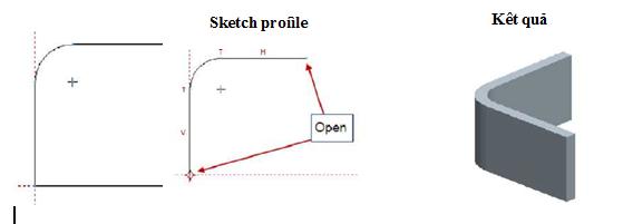 Sketch profile không khép kín và khép kínvà kết quả tương ứng