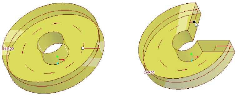 Khối với góc xoay 360 độ và góc xoay được điều chỉnh