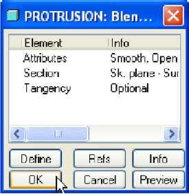Chọn OK trong menu Protrusion