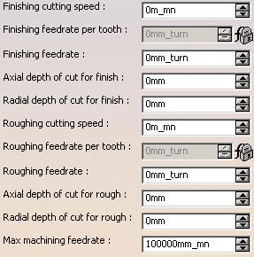 Bảng thông số cắt của dụng cụ
