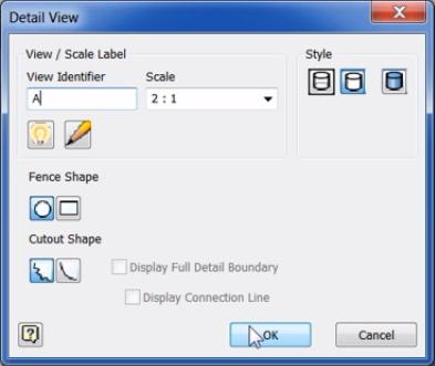 tạo hình chiếu chi tiết Detail View