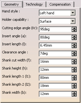 thông số hình học của thân dao