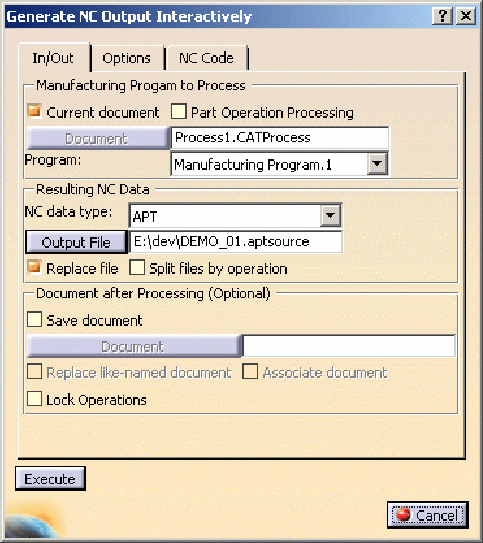 Hộp thoạiGenerate NC Output Interactively