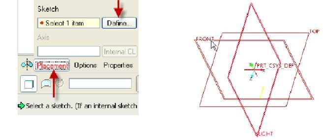 Hộp thoại Sketch và mặt FRONT