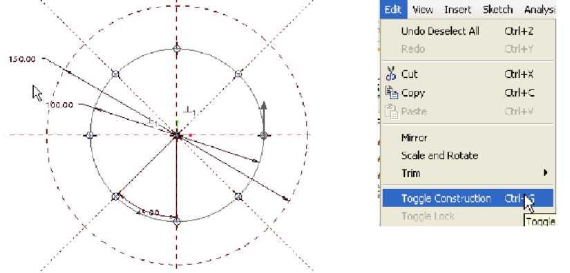 Vẽ tiết diện thứ hai và chọn Toggle Contruction