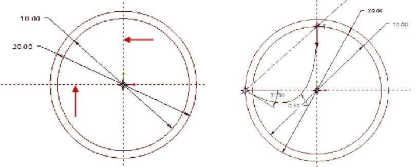 Vẽ thêm hai đường trục trùng tại vị trí mũi tên