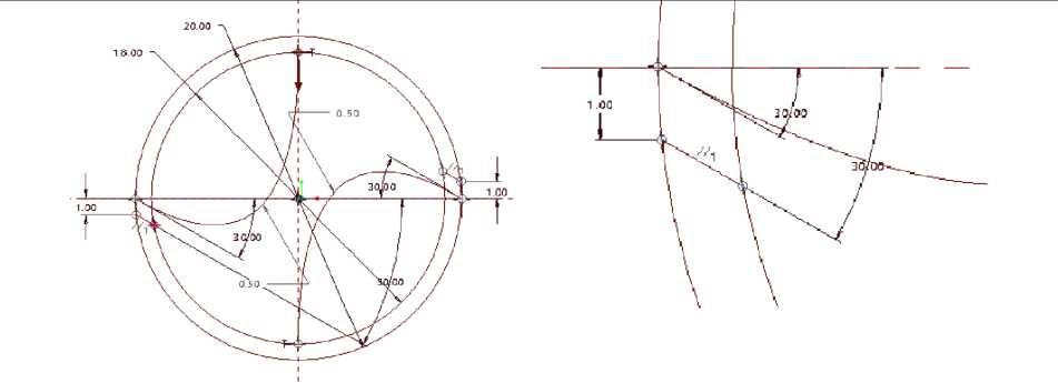 Vẽ hai đường thẳng tạo me cắt cho mũi khoan và phóng đại me cắt mũi tên