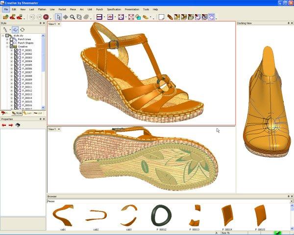 Giao diện phần mềm thiết kế giày dép shoemaster