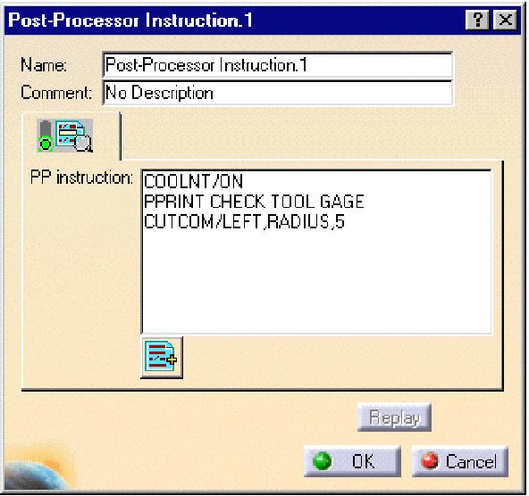 Hộp thoại Post- Processor Instruction