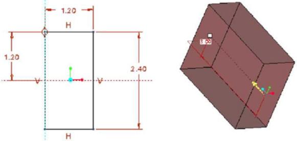 Sketch Profile và mũi tên cho biết hướng Extrude