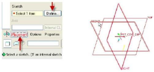 Placement trong hộp thoại Sketch và Mặt vẽ phác Front