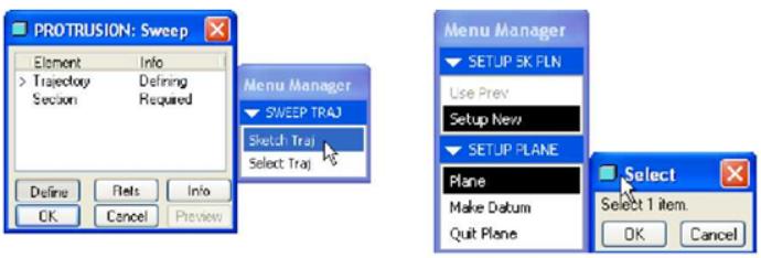 Chọn Sketch Traj và Menu Manager