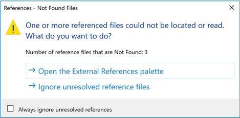 Thông báo khi mở tài liệu tham khảo bên ngoài mà không tìm thấy