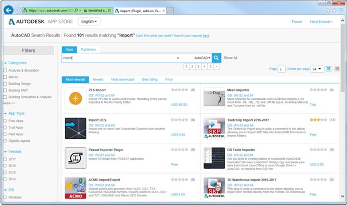 Các ứng dụng trong Autodesk App Store