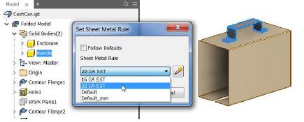Set Sheet Metal Rule để hiệu chỉnh quy tắc