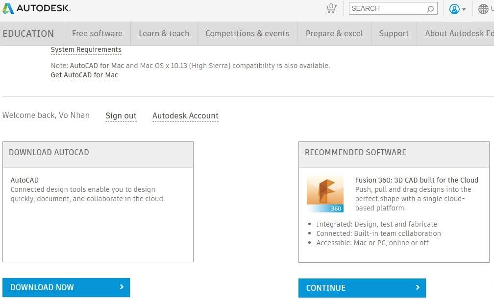 download autocad cho cho sinh viên
